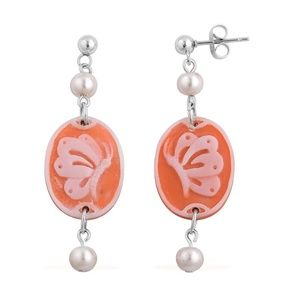 Jewelry - Butterfly Cameo, White Shell Pearl Stainless Steel